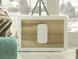 Tables de chevet laquées à 2 tiroirs avec façades en chêne. Mod. ARIA