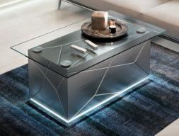 Table basse avec plateau en verre. Mod. NAUGE
