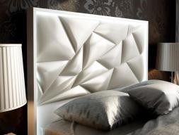 Tête de lit laquée et tapissée avec éclairage led. Mod. NAUGE LED