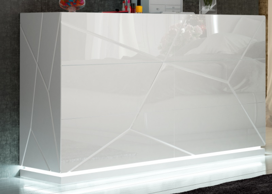 Commode laquée à 6 tiroirs avec éclairage led. Mod. NAUGE LED