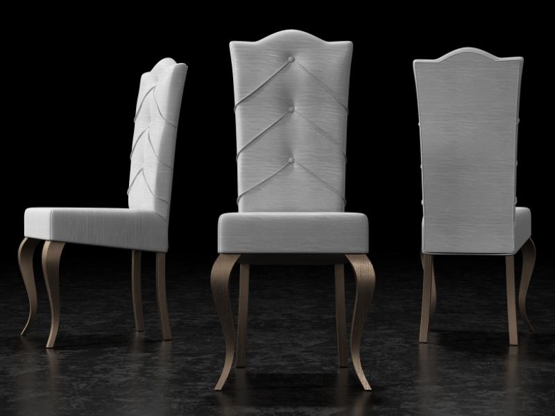 Ensemble de  2 chaises tapiss�s avec boutons et pieds laqu�s. Mod. ISOLA