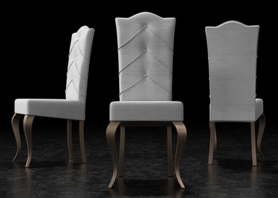 Ensemble de  2 chaises tapissés avec boutons et pieds laqués. Mod. ISOLA