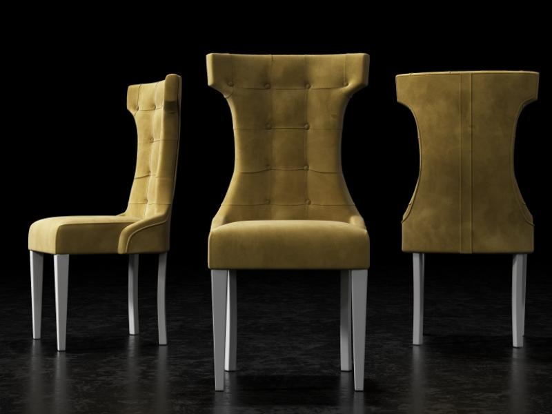 Ensemble de  2 chaises tapiss�s  avec boutons, clous tapissiers et pieds laqu�s. Mod. TOSCANA