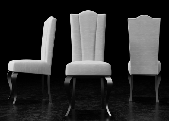 Ensemble de  2 chaises tapissés  et pieds laqués. Mod. DANTE