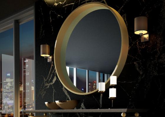 Miroir métallique rond. Mod. CERVO