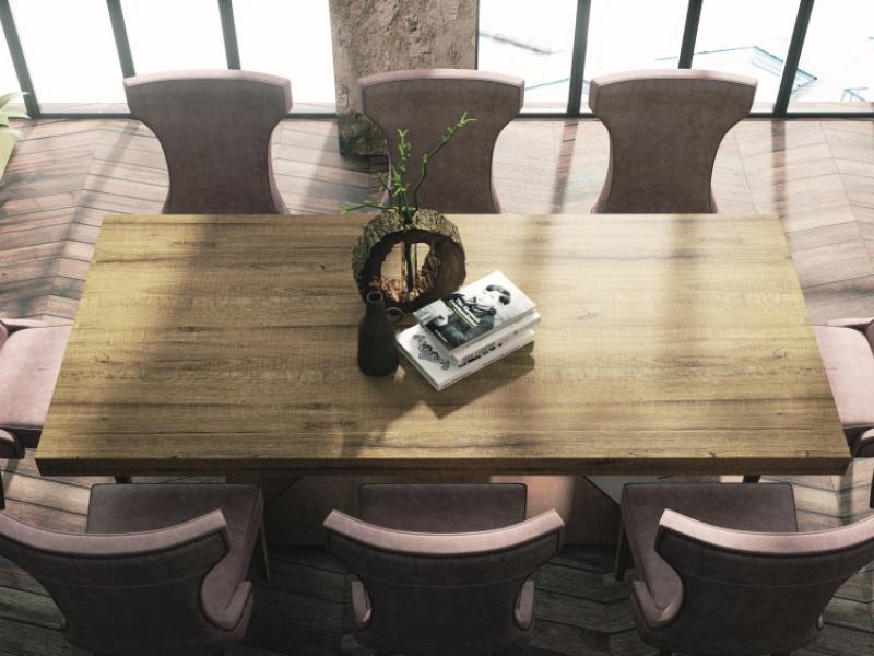 Table � manger extensible avec plateau en ch�ne. Mod. NAMUR