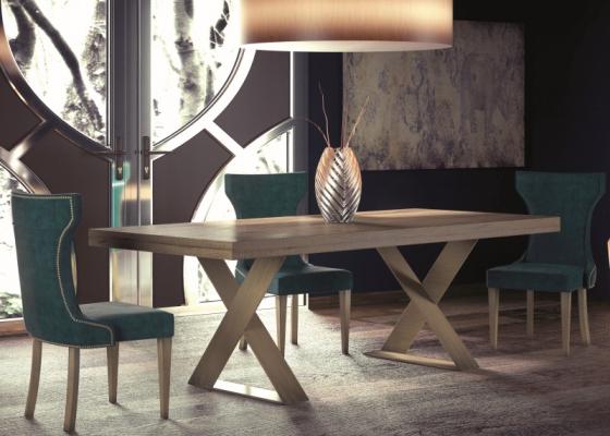 Table à manger extensible avec plateau en chêne. Mod. DINANT