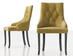 Ensemble de  2 chaises tapissés  avec boutons, clous et pieds laqués. Mod. NOTO