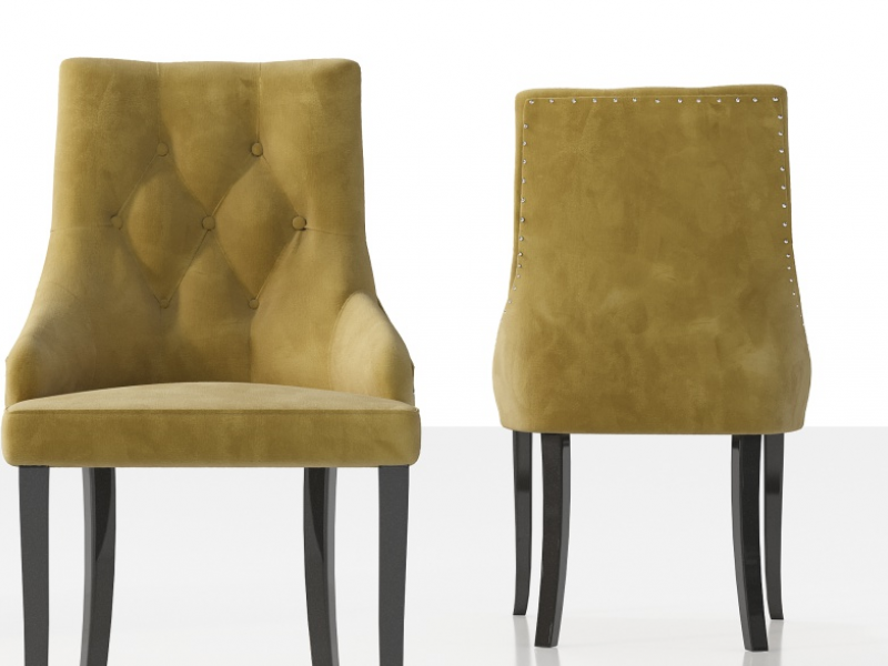 Ensemble de  2 chaises tapiss�s  avec boutons, clous et pieds laqu�s. Mod. NOTO