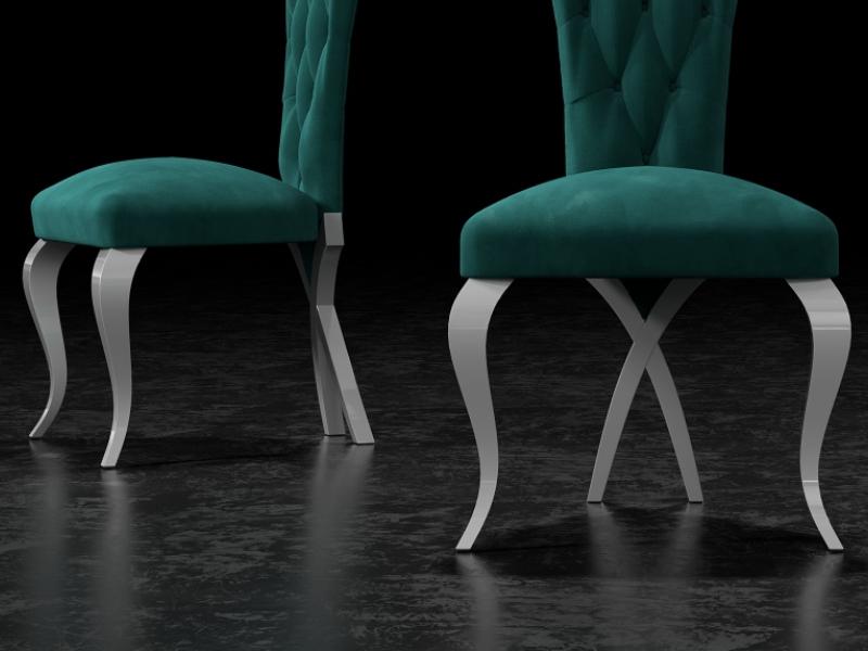 Ensemble de  2 chaises tapiss�s  avec boutons et pieds laqu�s. Mod. CAPRI