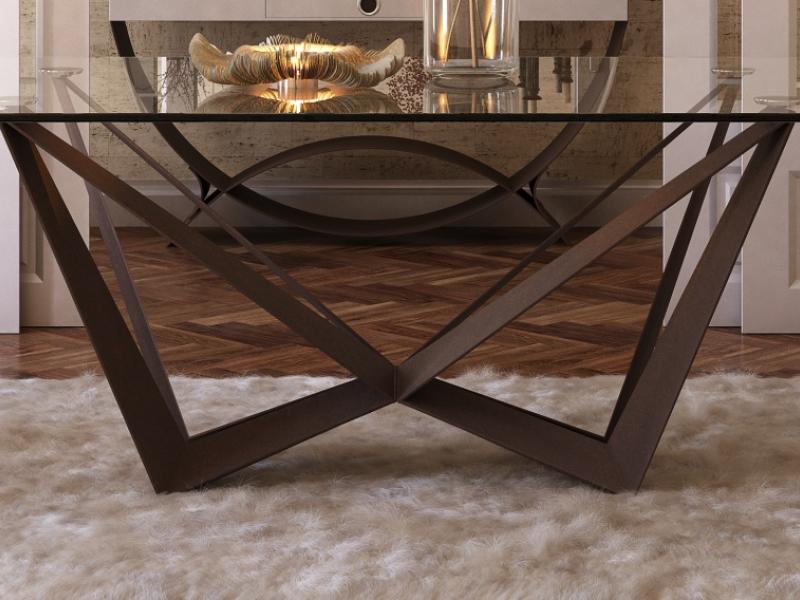 Table � manger fixe avec plateau en verre tremp�. Mod. VERNAZZA