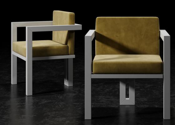 Chaises tapissé avec structure en fer laqué. Mod. ELITTE