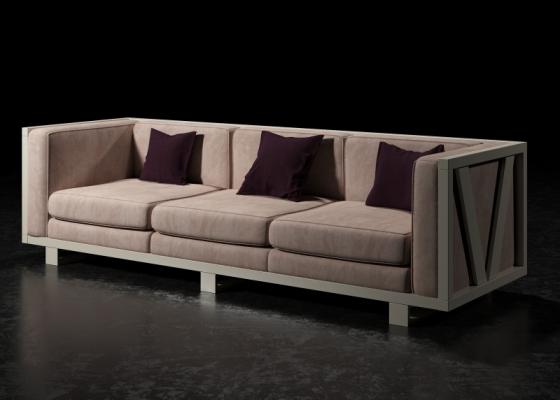 Canapé tapissé avec structure en fer laqué. Mod. LEORA 3