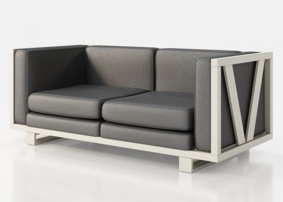 Canapé  tapissé avec structure en fer laqué. Mod. LEORA
