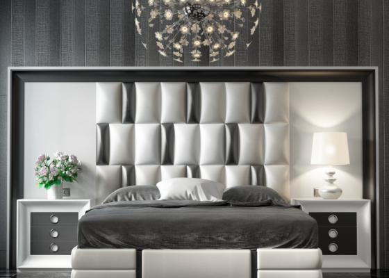 Tête de lit XXL laquée avec partie centrale tapissée. Mod. MELINA