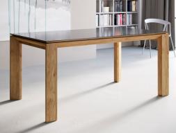 Table à manger extensible avec plateau laquée, en bois, en verre ou céramique. Mod. MIRO