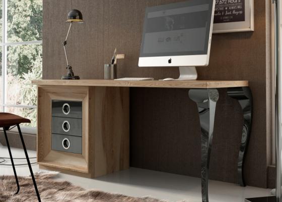 Bureau en chêne avec pieds laqués et 3 tiroirs. Mod. MELINA