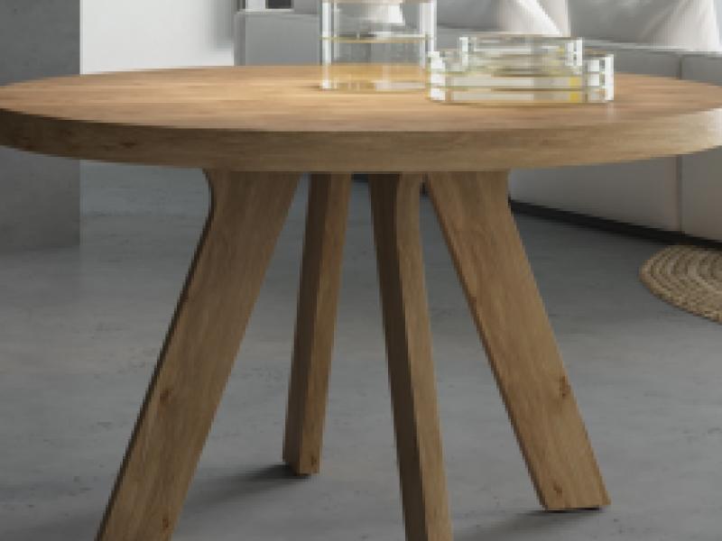 Table � manger ronde extensible. Mod. ESFERA CH�NE AVEC DES NOEUDS