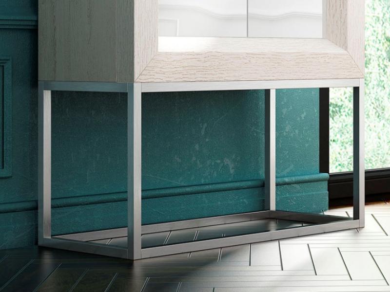 Meuble bar design en ch�ne avec portes laqu�es. Mod. MELINA