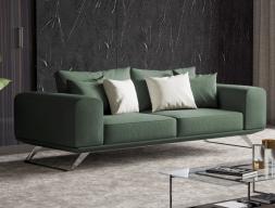 Canapé moderne avec piétement en acier inox. Mod. VERONA