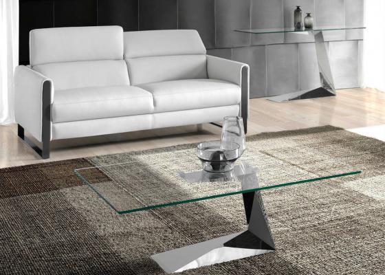 Table basse en acier chromé avec plateau en verre. Mod: SARA