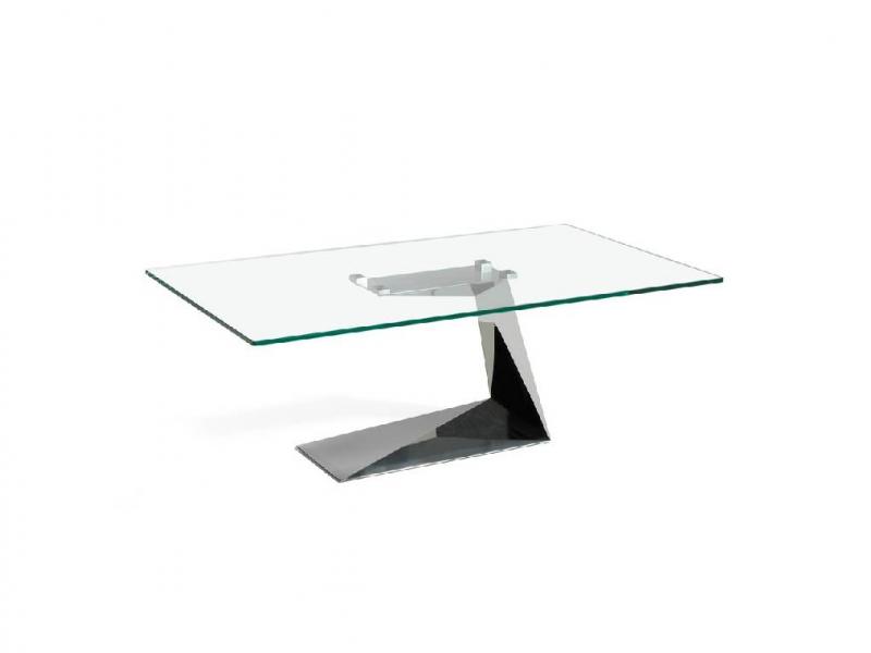 Table basse en acier chrom� avec plateau en verre. Mod: SARA