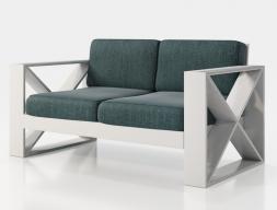 Canapé  tapissé avec structure en fer laqué. Mod.ELIETTE