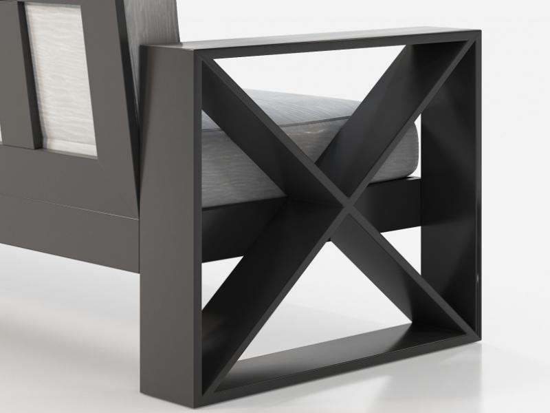 Canap�  tapiss� avec structure en fer laqu�. Mod.ELIETTE