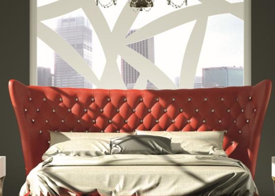 Tête de lit courbée capitonnée avec boutons en cristal de Swarovski. Mod. GOLDA