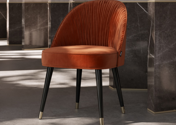 Chaise design tapissée. Mod. JOANNA