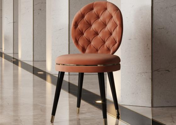 Chaise design tapissée avec capitonné. Mod. EVA
