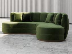 Canapé circulaire design tapissé en velours. Mod. DREAM