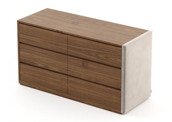 C�moda de 6 cajones en madera y tapizado. Mod: DORIANNE