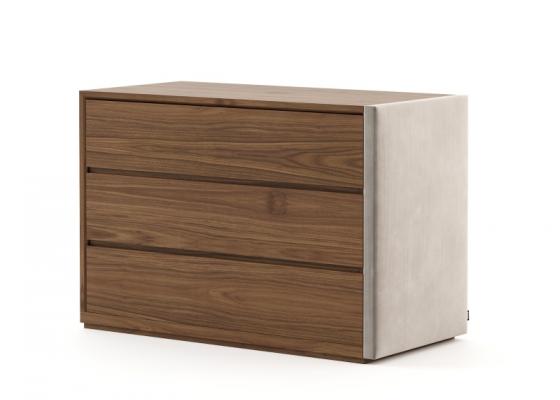 Commode à 3 tiroirs en bois et tapissé. Mod. DORIANNE