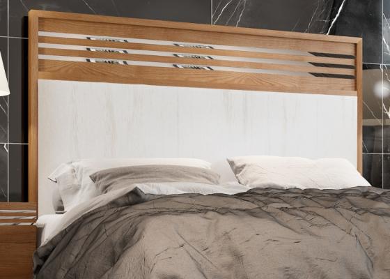 Tête de lit en bois de noyer tapissée. Mod. ACIER