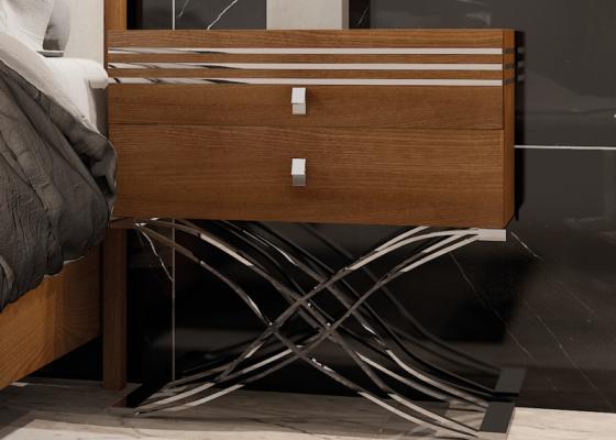 Chevets à  2 tiroirs en bois de noyer et piétement en acier inox - Ensemble de  2 unités. Mod. ACIER