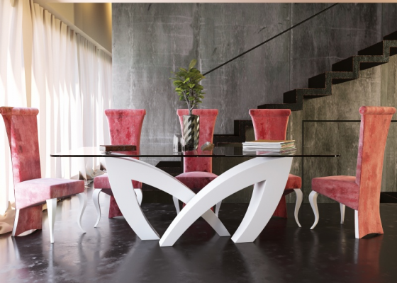 Table à manger avec plateau en verre trempé. Mod. SEINE