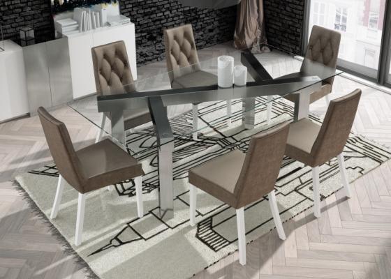 Table à manger fixe avec plateau en verre trempé. Mod. CARAVAGGIO