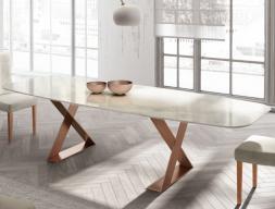 Table à manger avec plateau en marbre. Mod. BIANCA