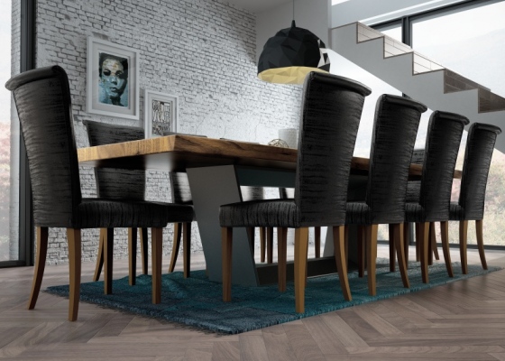 Table à manger fixe avec plateau en bois de frêne. Mod. BERN