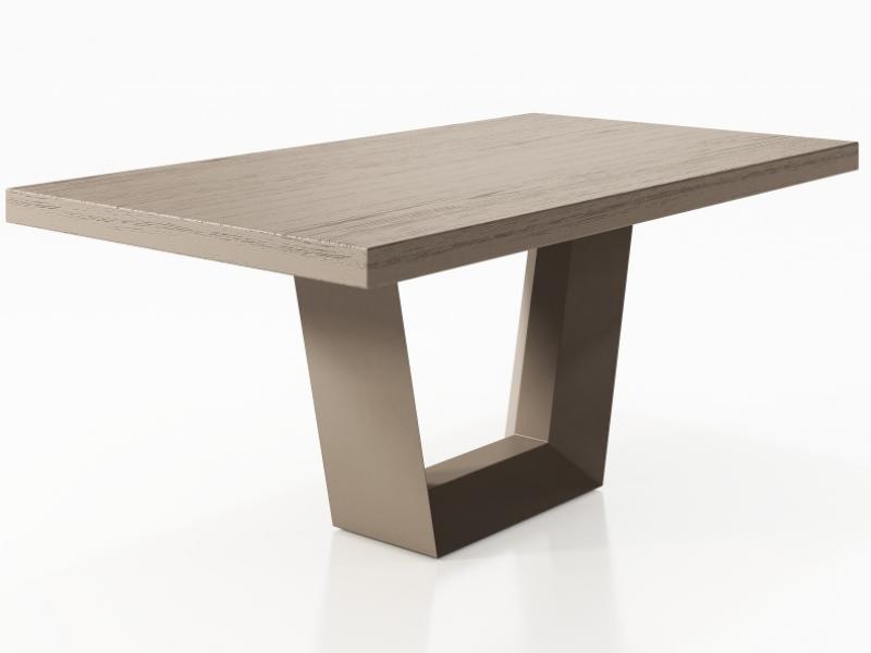 Table � manger fixe avec plateau en bois de fr�ne. Mod. BERN
