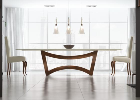 Table à manger avec plateau en marbre. Mod. ELIE