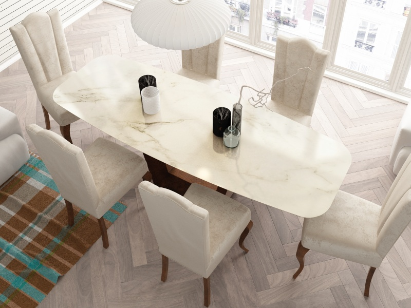 Table � manger avec plateau en marbre. Mod. CINNIA
