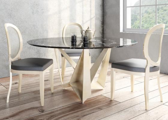 Table à manger ronde et fixe avec un plateau en marbre.Mod: DIMA