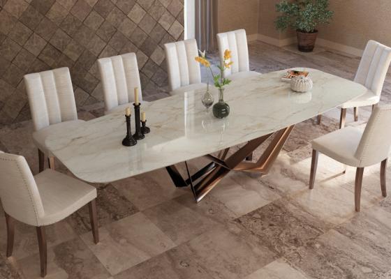 Table à manger avec plateau en marbre. Mod. MONTONE