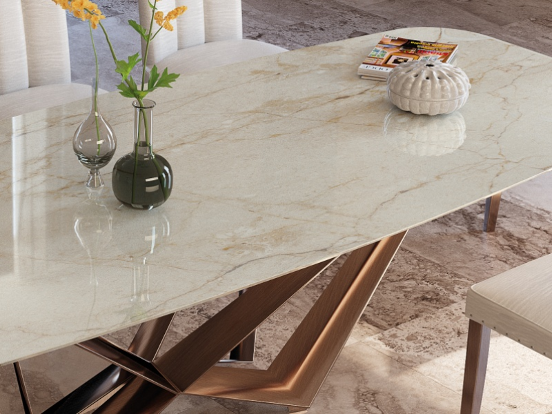Table � manger avec plateau en marbre. Mod. MONTONE