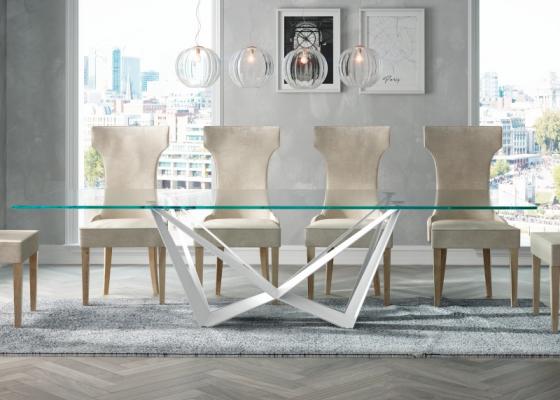 Table à manger fixe avec plateau en verre trempé. Mod. VERNAZZA BIANCO
