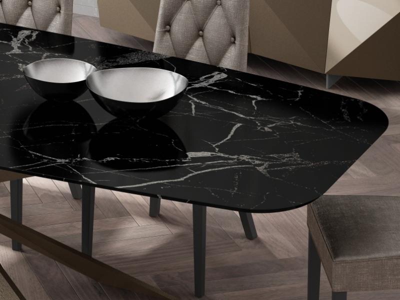 Table � manger avec plateau en marbre. Mod. KENIA