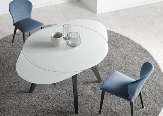 Table à manger ronde extensible. Mod. DORMA