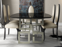 Table à manger avec plateau en marbre. Mod.CAMOLI